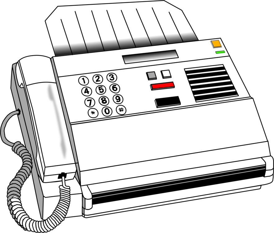Drawing phone office. Fax computer icons printer