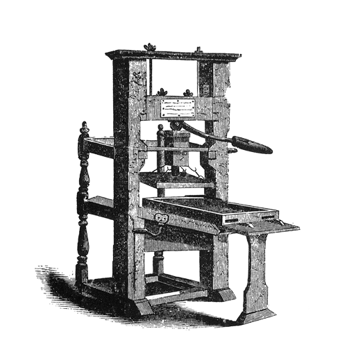 Drawing printing press. Lenoir filling the world