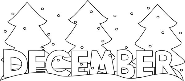 December clipart black and white. Month of snow clip