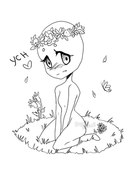 Drawing poser sketching. Ych flower crown closed