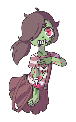 Maid drawing zombie. Open halloween raffle by