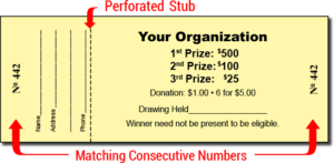 Drawing raffle coupon sample. How fundraising can help