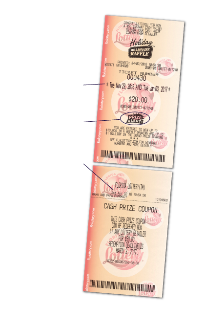 Drawing raffle coupon sample. Florida lottery millionaire holiday