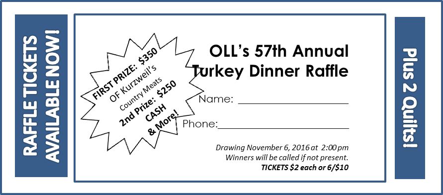 Drawing raffle mechanic. Home turkey dinner our