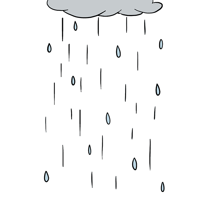 Drawing raindrops color. How to draw rain