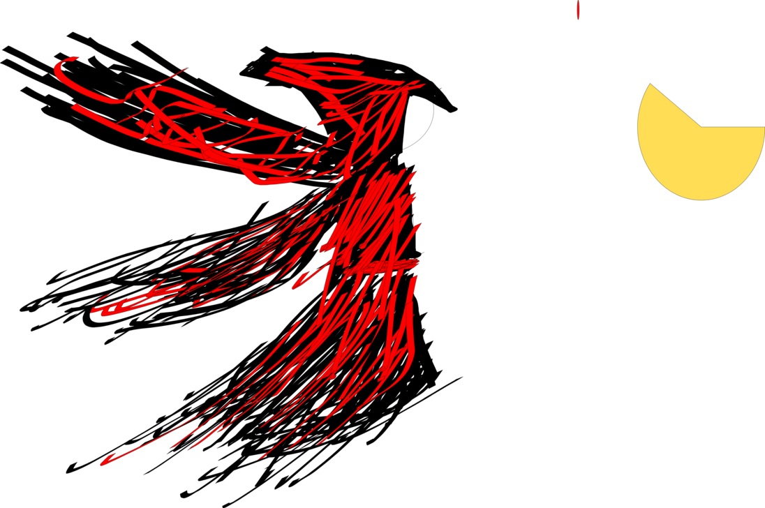 Drawing raven abstract. Priestess of the bloody