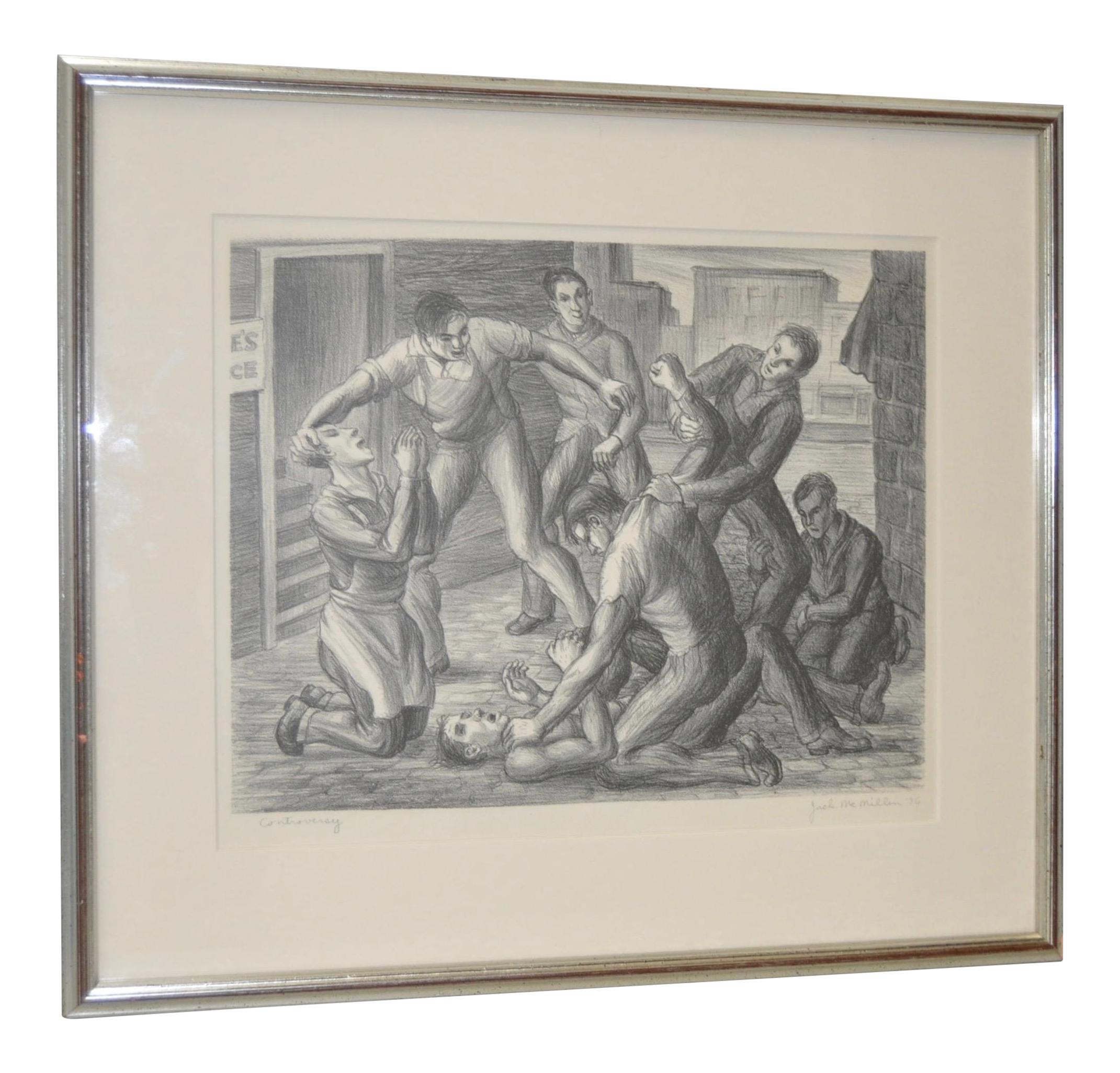 Drawing realism. Controversy social pencil signed