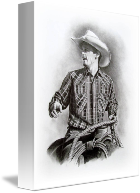 Western drawing art. Cowboy in the saddle