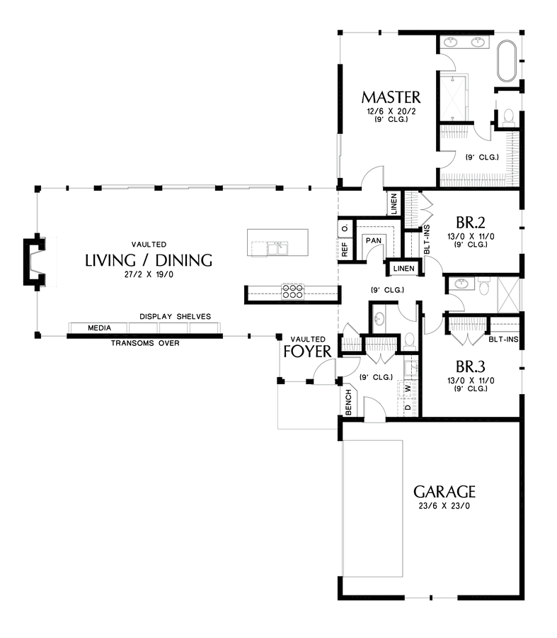 Drawing restrain contemporary. House plan the delores