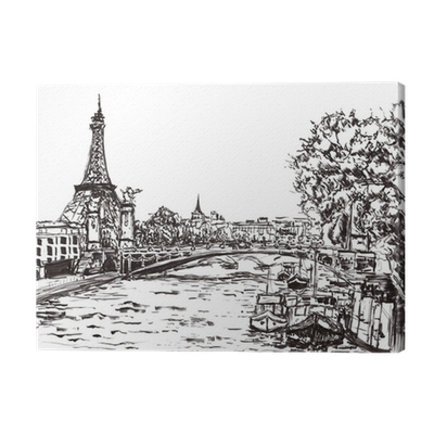 Drawing river. Paris hand draw canvas