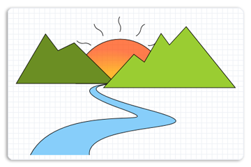 Drawing geometry mountain. Simple river at getdrawings