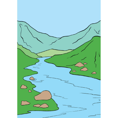 Drawing river animation. Collection of free download