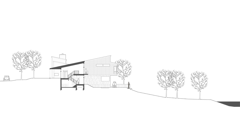 Drawing river architecture. Residential monteyne house s