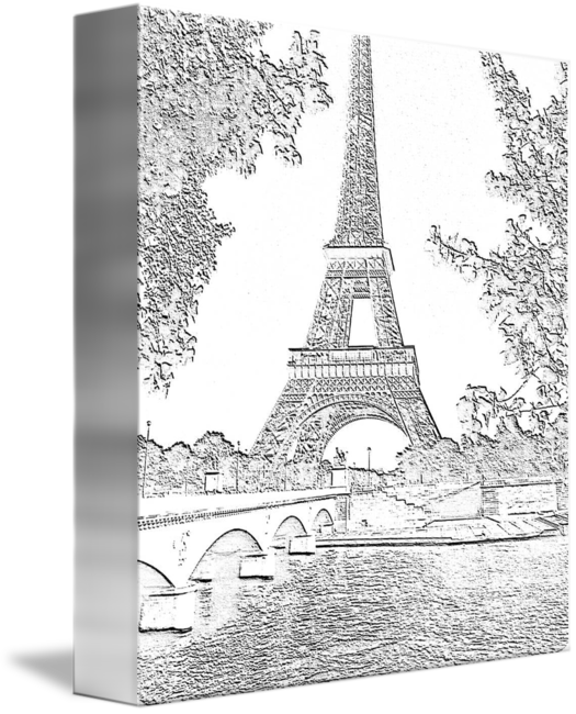 Drawing river charcoal. Eiffel tower seine cropped