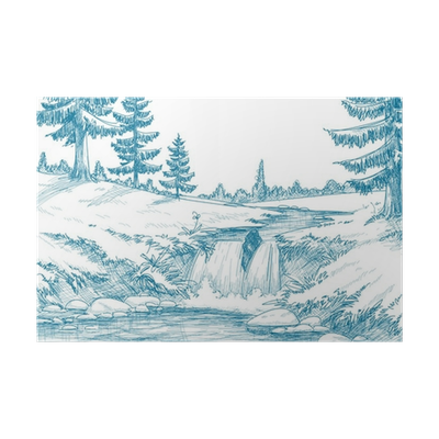 River clipart river village. Mountain pencil drawing poster