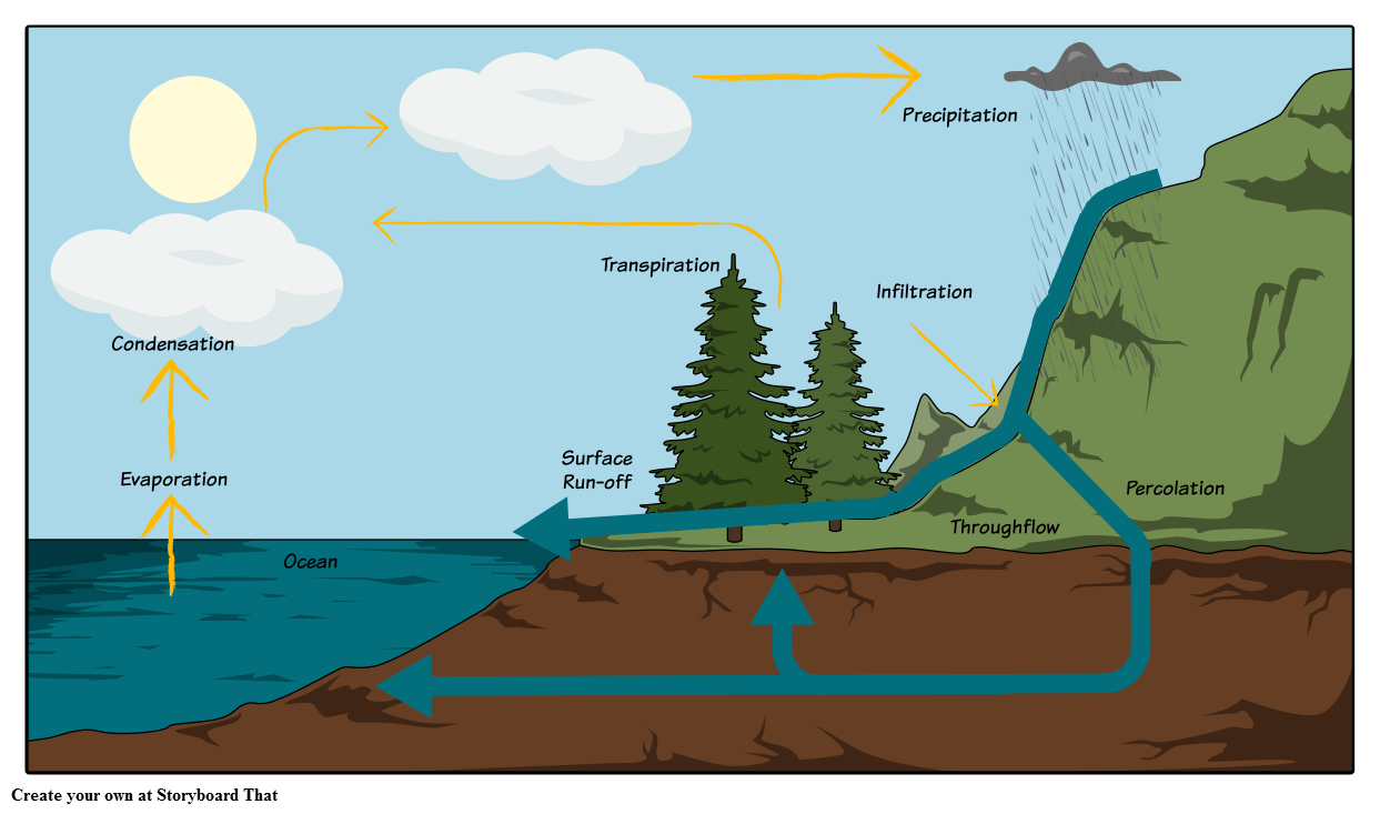 Drawing river flow. The water cycle diagram