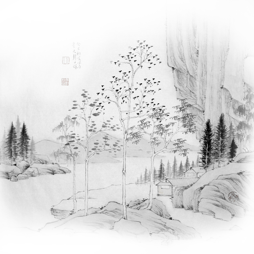 Drawing river ink. Wash painting shulin district