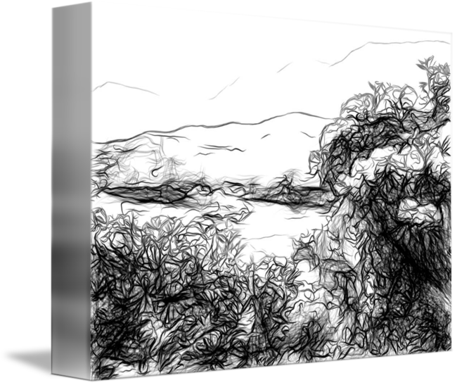 Drawing river landscape. Rhododendrons bloom along the