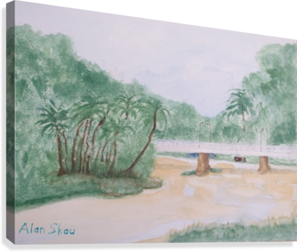 Drawing river landscape. Bridge over the ping