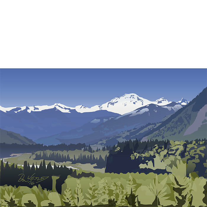 Drawing river mountain. Mt baker from the