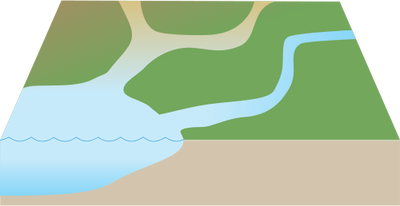 Landforms drawing river mouth. Index of ress tice