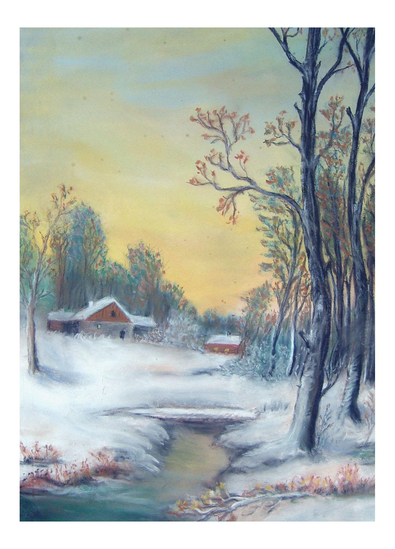 Pastels drawing sunrise. Winter pastel on paper