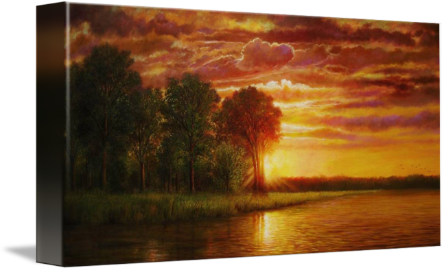 Drawing sunset realistic. Mississippi river by jerrie