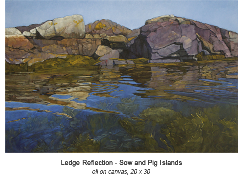Sargent drawing landscape. Ledge reflection sow and