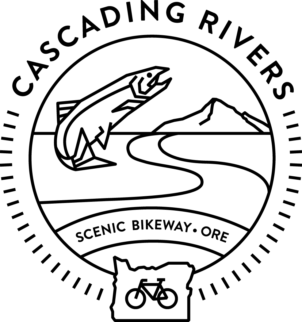 Outdoor drawing peaceful scenery. Cascading rivers scenic bikeway