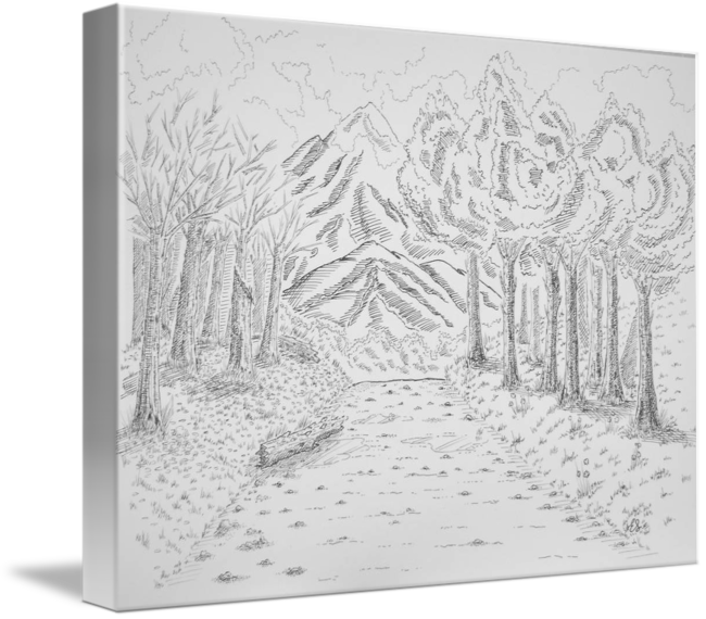 Relief drawing landscape. The two sides of