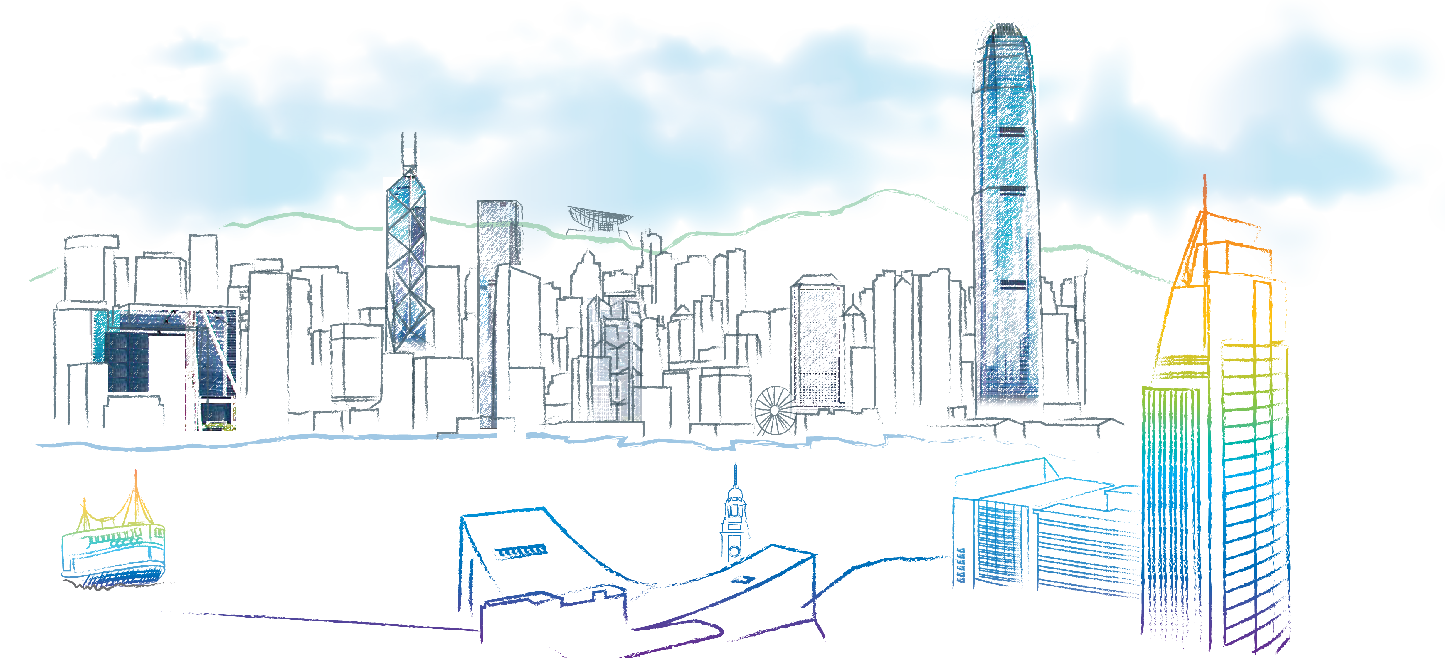 Vision drawing skyline. Braingermcell welcome message by