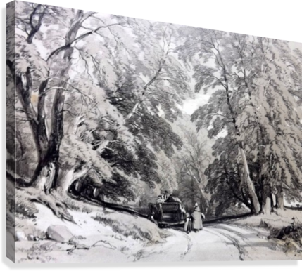 Drawing road forest. A family in the