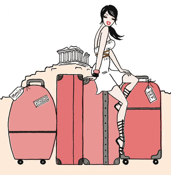 Drawing illustrations emotional baggage. Travel suitcase road trip