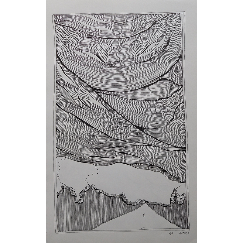 Bay drawing ink. Cloudy road home kind