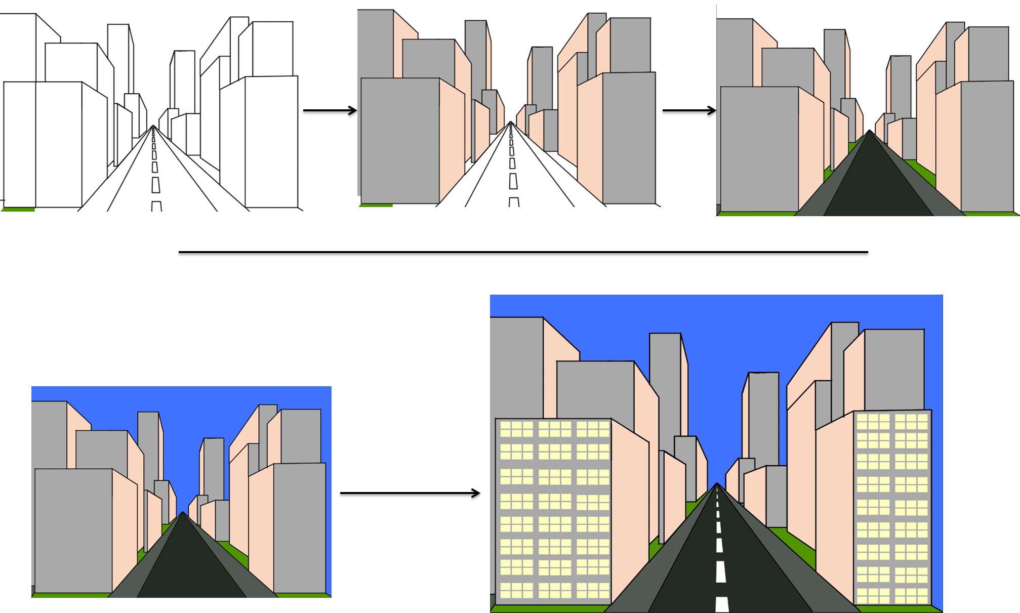 Drawing road perspective. The abandoned project how