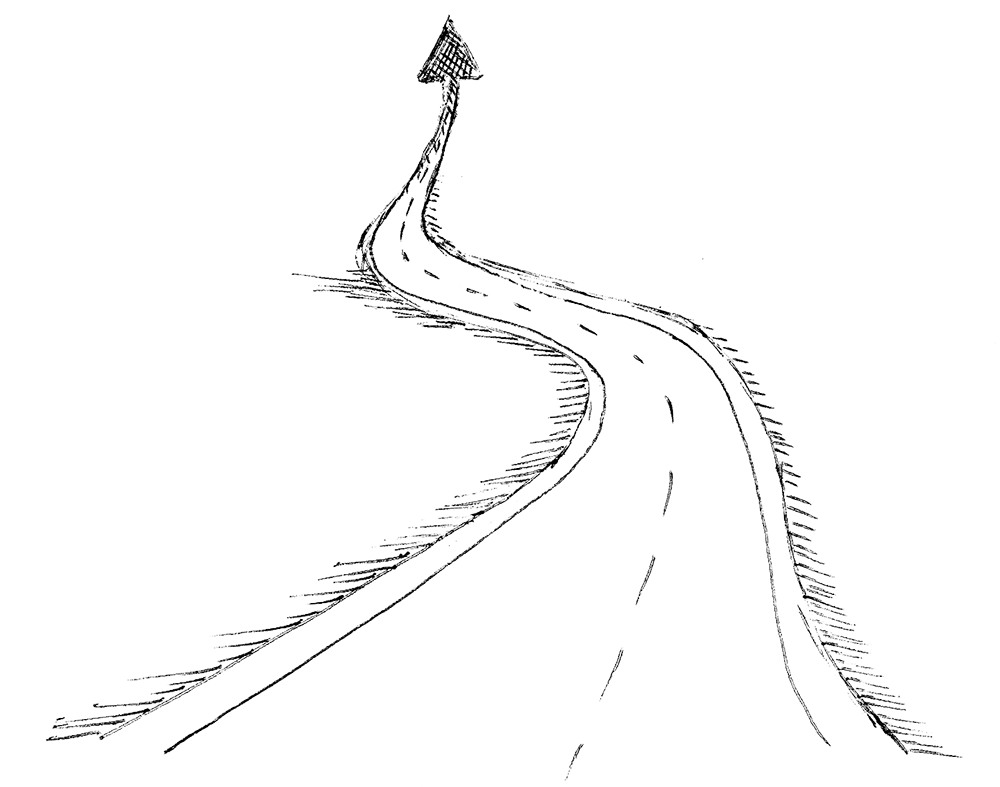 Collection of transparent. Drawing road endless black and white