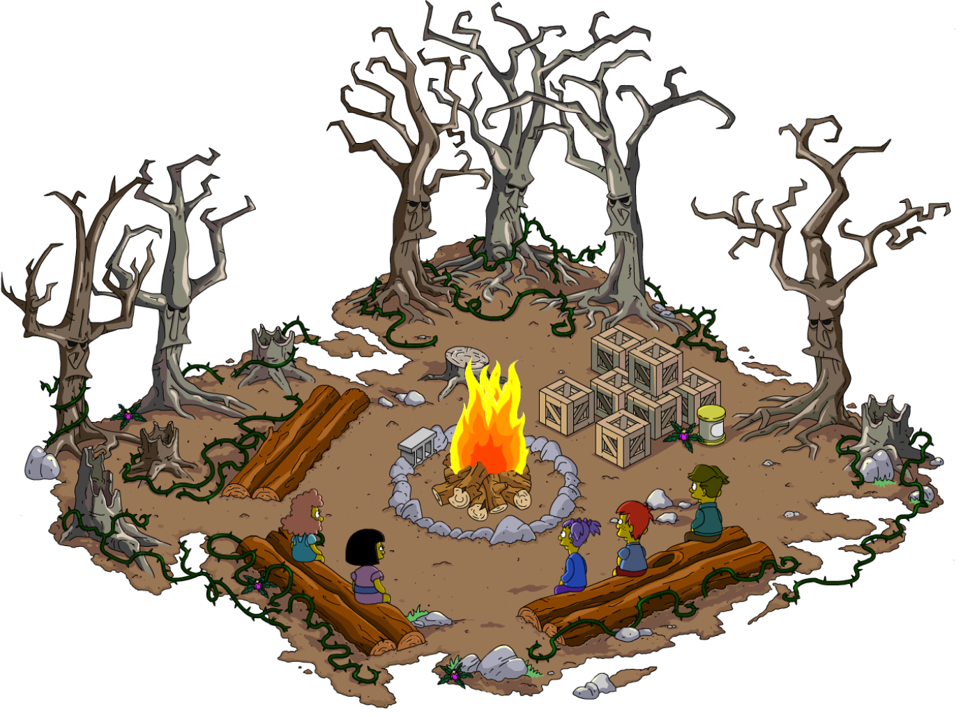Drawing road spooky. Thoh campfire storiesthe simpsons