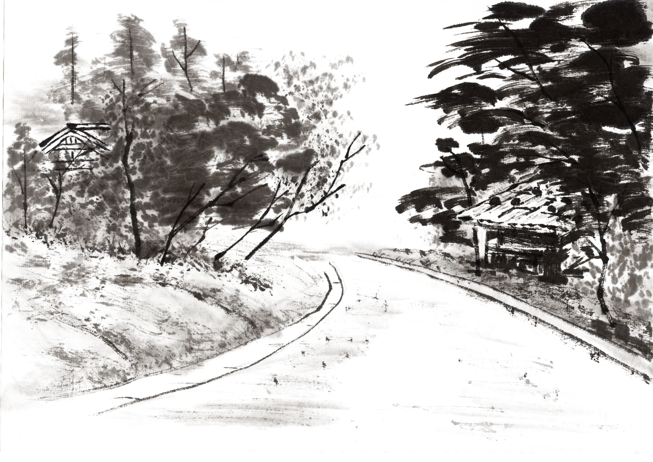 drawing roads ink