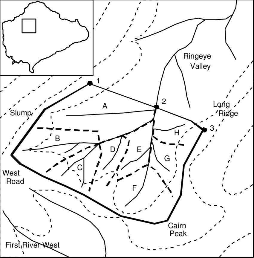 Drawing road valley. Sketch map of the