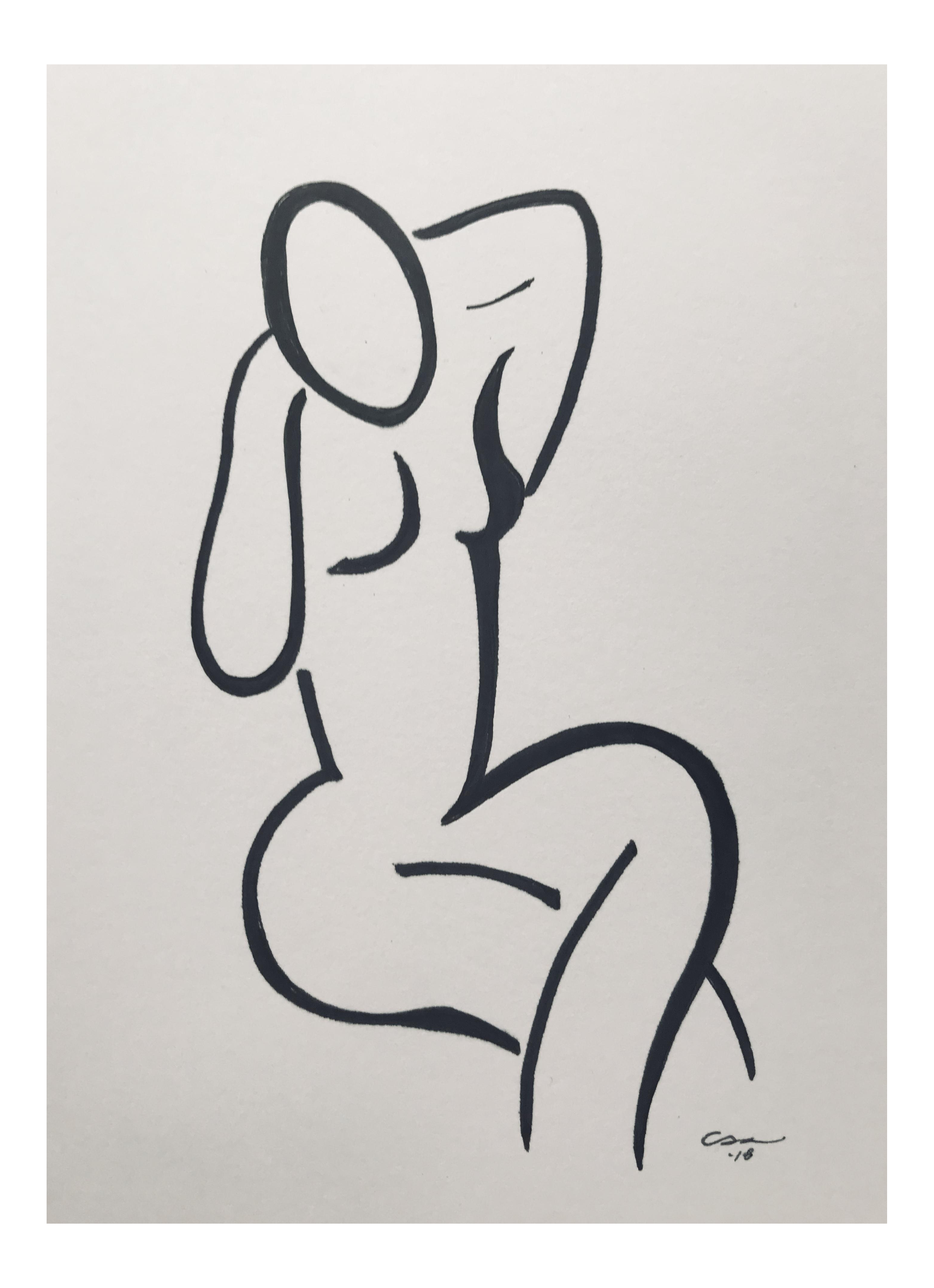 Drawing roads minimalist. Original figure seated chairish