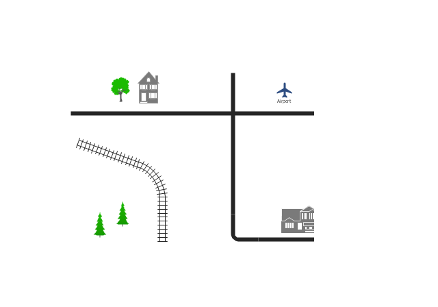 Drawing roads town. D directional map