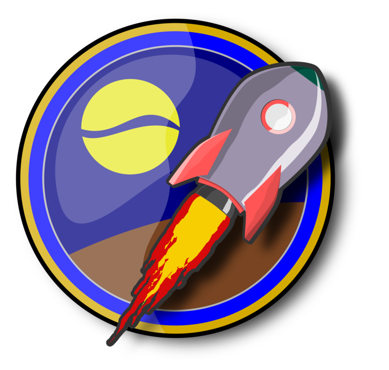 Spacecraft drawing spaceship. Rocket can stock photo