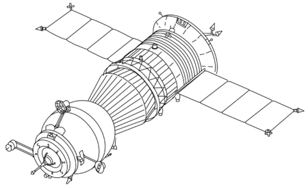 Spacecraft drawing mechanical. Mir hardware heritage part