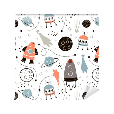 Drawing rockets space probe. Childish seamless pattern with
