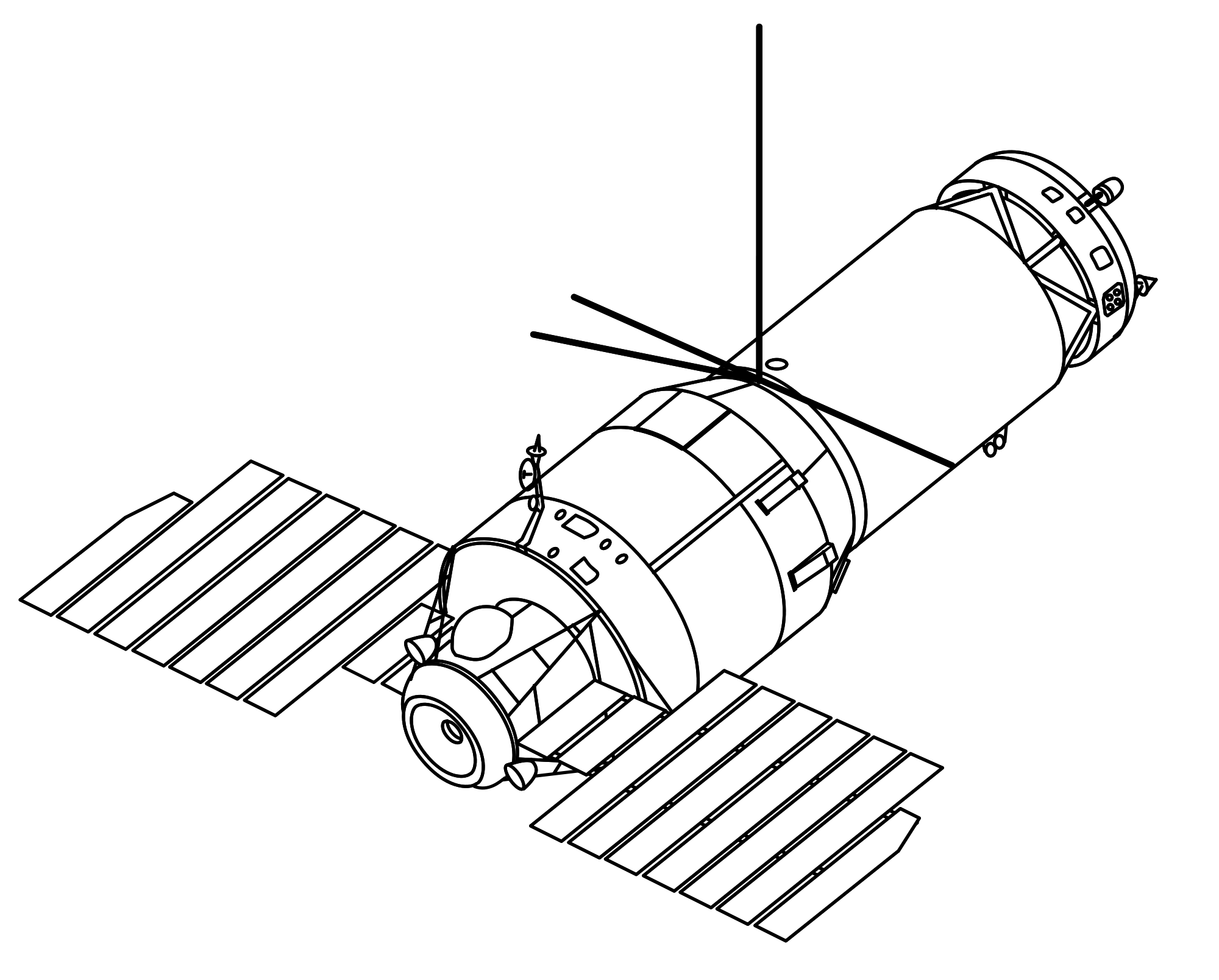 Drawing rockets space probe. Collection of high