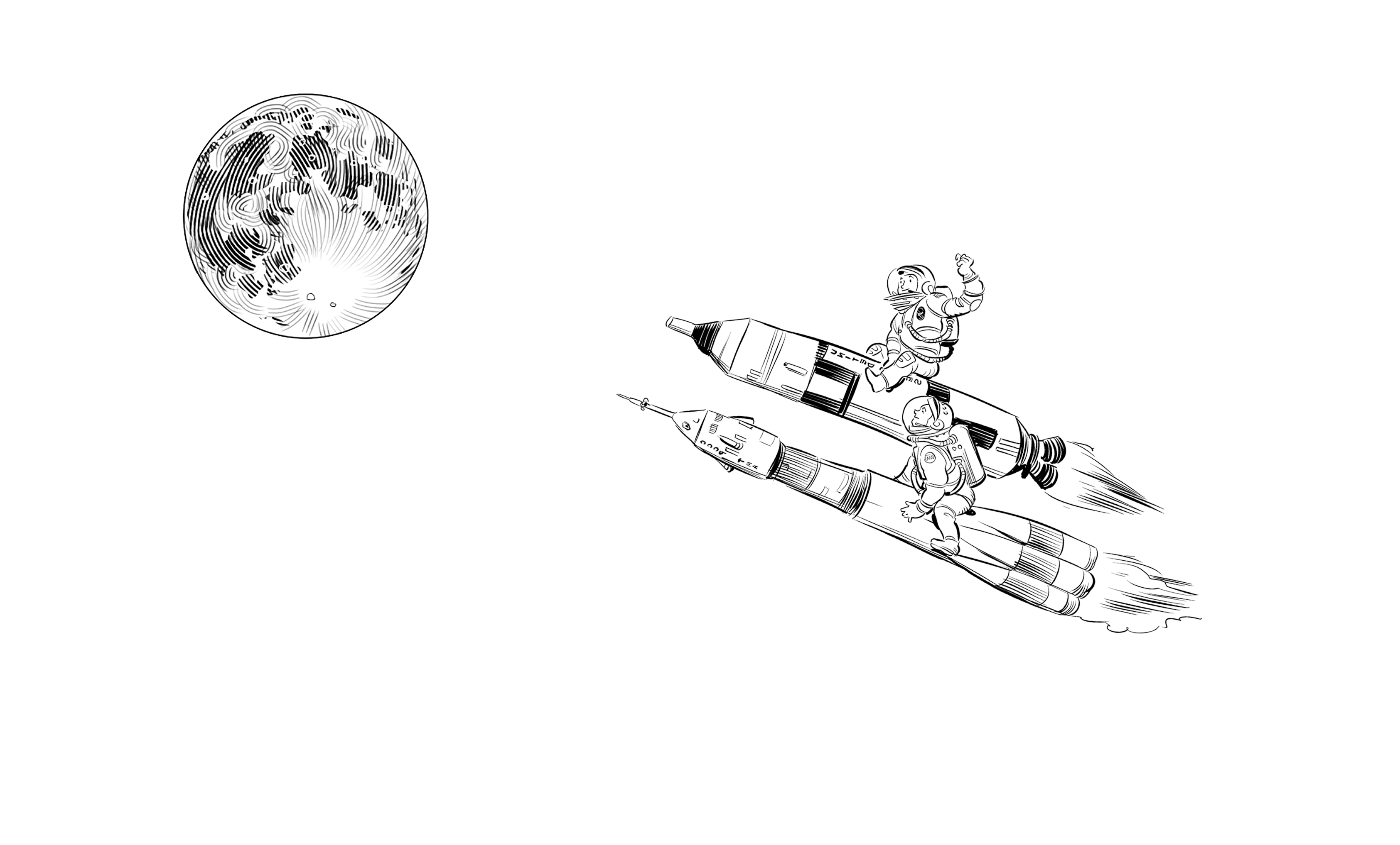 Drawing rockets epic. Race to space moon