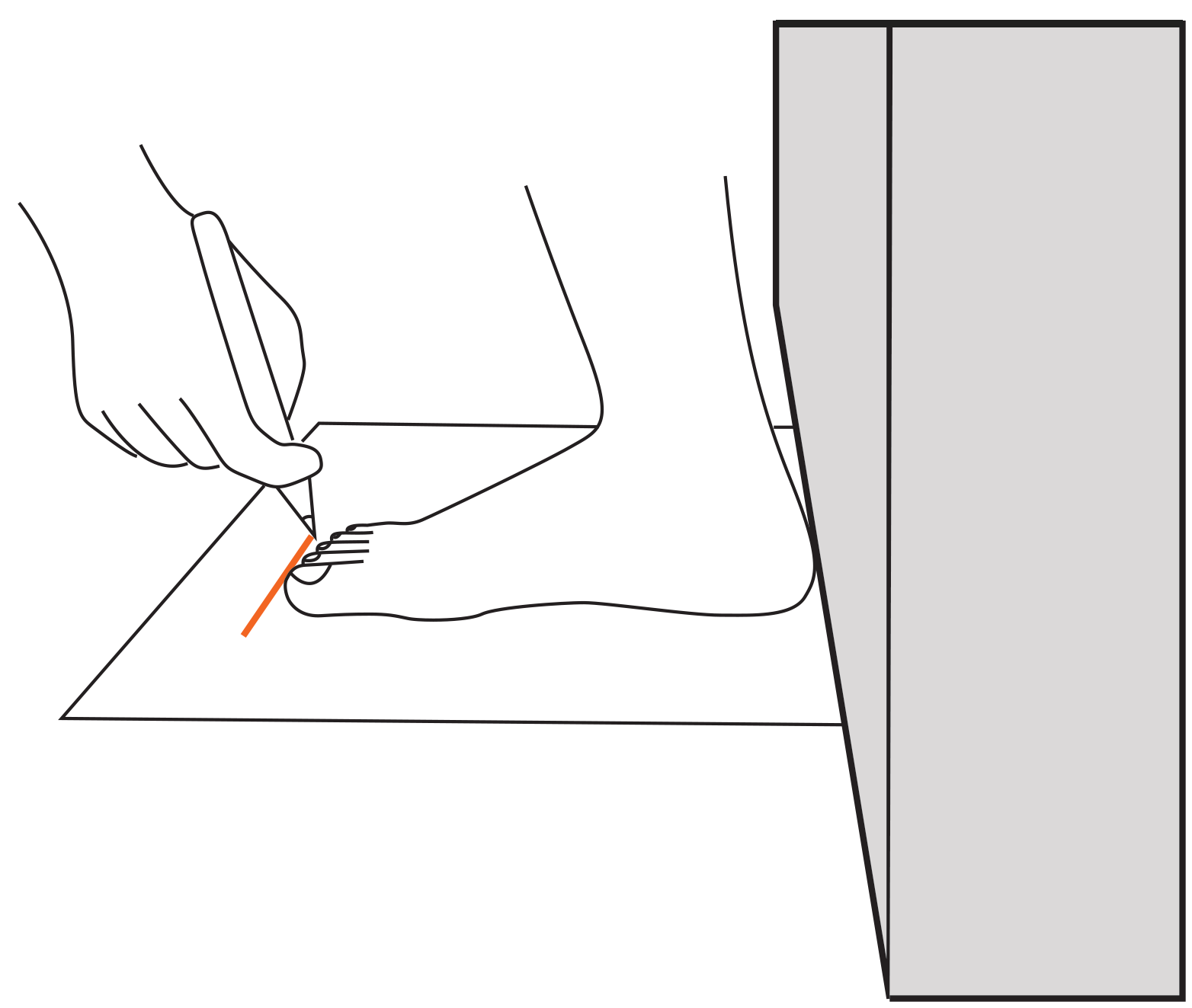 Size guide step . Toe drawing detail clipart black and white download