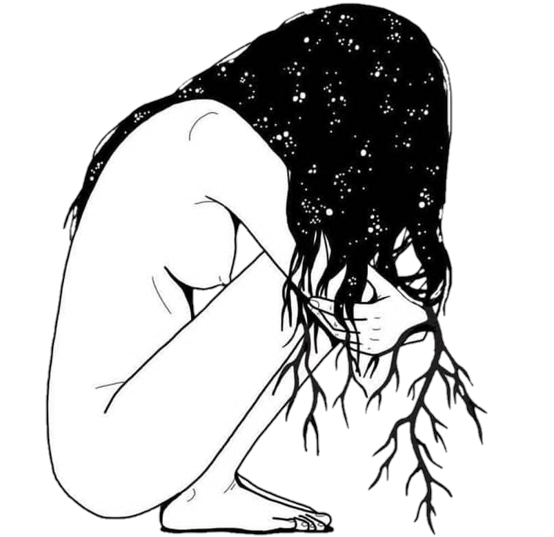 Drawing sadness sad girl photography tumblr black white. Blackandwhite sadgirl