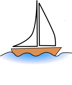Drawing sailboats little boat. By yves guillou clip