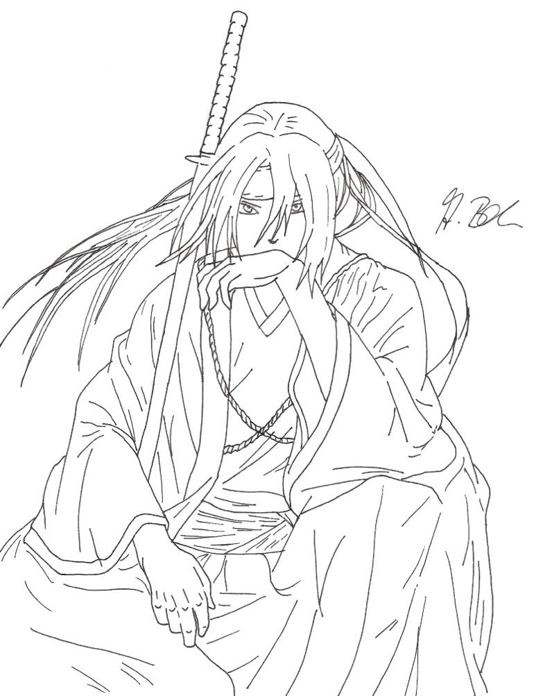 Drawing samurai anime. Lineart by alyssasart on